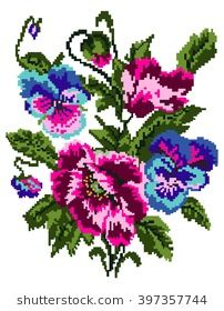 Colorful bouquet of flowers (poppies and pansies) using traditional Ukrainian embroidery elements. Can be used as pixel-art.
