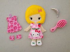 Abigail ITH Felt Dress Up Doll Embroidery by Bobbin4appliques, $7.00