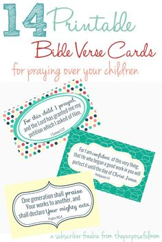 14 free printable cards with Bible verses to pray over your children! Praying Scripture over our kids is such a powerful thing, and sometimes we need a reminder of exactly how and what to pray for our kids. These Bible verse notecards can help you with just that!