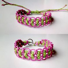 Pink & Green Hemp Bracelet Customize by WartickRavels on Etsy