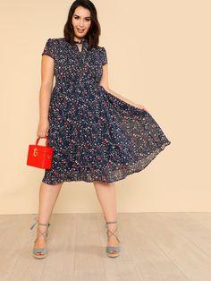 f9dcdc07f7 Mixed Print Drop Waist Dress -SheIn(Sheinside) Fit Flare Dress