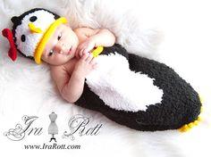 Handmade Knit Penguin Hat and Cocoon Set for Newborn Babies http://www.irarott.com/