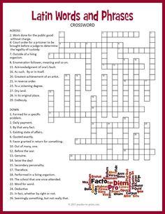 Latin dating word crossword