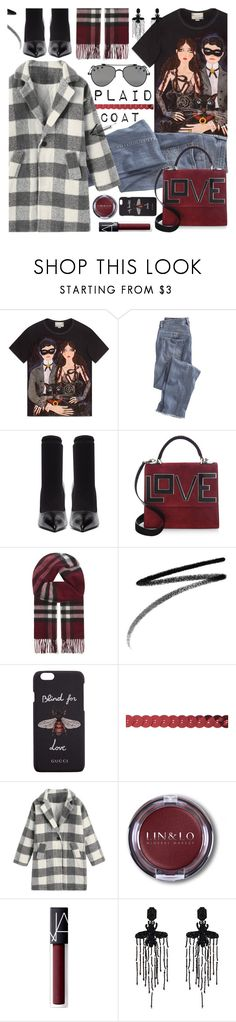 """""""Plaid Coat"""" by tinkabella222 ❤ liked on Polyvore featuring Gucci, Wrap, Balenciaga, Les Petits Joueurs, Burberry, Clé de Peau Beauté, NARS Cosmetics, Givenchy, casualoutfit and gucci"""