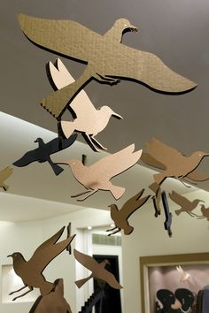 Azza Fahmy Flock of  Flying Pharaonic Birds Cut-Out of Natural Colored Cardboard