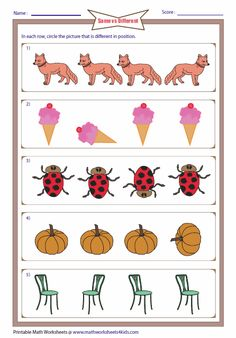 Printable worksheets contain identifying same sizes, same objects, identifying different items and more. Also contain odd one out worksheets. Preschool Workbooks, Preschool Phonics, Preschool Learning Activities, Kindergarten Worksheets, Worksheets For Kids, Alphabet Writing Worksheets, Nursery Worksheets, Visual Perception Activities, Daily Printable