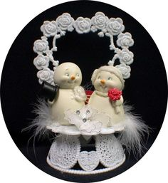 Adorable Winter wonderland Funny Snowman Christmas  Wedding Cake Topper snow