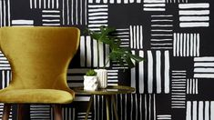 Use a wallpaper design, like this ethnic-style monochromatic print, as inspiration for a creative paint project. Decor Interior Design, Interior Decorating, Paint Stripes, Designer Wallpaper, Creative, Projects, Inspiration, Painting, Home Decor