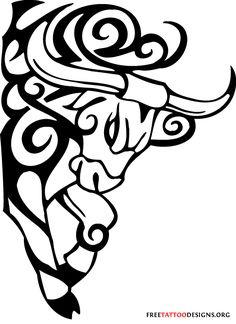 Bull tattoo art with tribal patterns