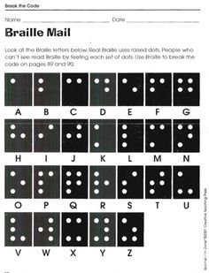 Give students an extra challenge and have them figure out the secret Braille messages. Breakout Edu, Breakout Game, Breakout Boxes, Worksheets For Kids, Math Worksheets, Printable Worksheets, Ciphers And Codes, Escape Room Diy, Code Secret