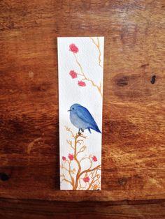 Blue Bird and Garden Flowers Watercolor Bookmark by AsmothDaeva