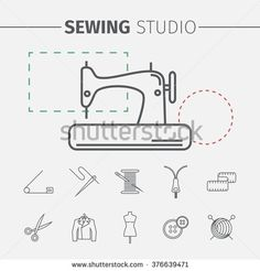 Sewing and needlework icons. Sewing studio poster.