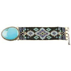 "Hand Beaded Bracelet with Silk Thread Large Genuine Turquoise Set in Sterling Silver Glass Beads in Black, Blue and Turquoise Made in Santa Fe, New Mexico This statement piece features a 1 1/2"""" genui"