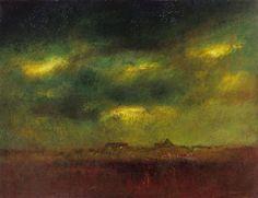 Twilit landscape - Lazlo von Mednyánszky Oil on canvas, 156 x 200 cm. Moonlight Painting, Art World, Impressionism, Landscape Paintings, Twilight, Oil On Canvas, Auction, Landscaping, March