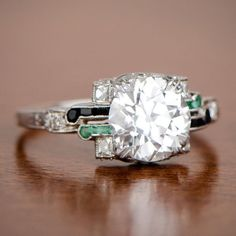 Original Art Deco 2.08ct Vintage Emerald Onyx and Diamond
