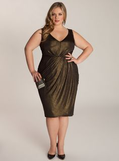"""This versatile dress will fit in a number of settings with its timeless fauxwrap design and decadently draped fabric. It's fully lined for a clingfree fit and seasonless wrinklefree jersey makes it a wardrobe staple. Play with interesting Art Deco baubles and throw on your favorite pumps. Shoulder to Hem Length: 44""""46"""" Fit Note: If bust and hip measurements correspond to two sizes, order larger size  Generous, brafriendly Vneck bodice fits medium to larger busts Curvaceous, faux wrap skirt…"""