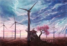 Beautiful drawing with windmills - Download High Resolution Wallpaper