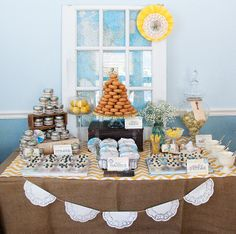 Love the doily bunting, food labels, apothecary jar, mason jar, suitcase, and tiny pies!