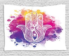 Ambesonne Hamsa Decor Collection, Hamsa Hand with Ombre C...