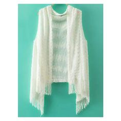 Tassel White Sweater Vest ❤ liked on Polyvore featuring outerwear, vests, white waistcoat, white vest, white sweater vest and sweater vest