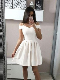 Custom Made A Line Short White Off Shoulder Prom Dresses Short Formal Dresses Off Shoulder White Graduation Dresses/Homecoming Dresses #prom #promdress #prom2019 #whitepromdress #shortpromdress #offshoulder #promdressshort ... make you look totally professional and yet completely feminine at the same time.There are also plenty of white formal dresses in the form of fantast...hite formal dresses do not even cost a lot. Sure designer brands have their own line of expensive picks. But even the… A Line Shorts, Elegant Dresses For Women, Short Dresses, Formal Dresses, White Homecoming Dresses, Prom Dresses For Teens, 1950s Dresses, Prom Outfits, Ladies Dresses