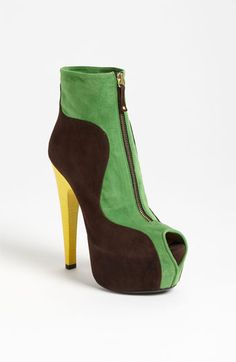 Taccetti Peep Toe Bootie makes a loud but chic statement in olive/brown
