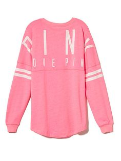 VS PINK Varsity Crew in Bright Pink