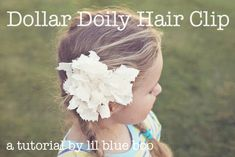 Make a vintage inspired hair clip using a dollar doily. This would be great for little girls garden parties or vintage tea parties!