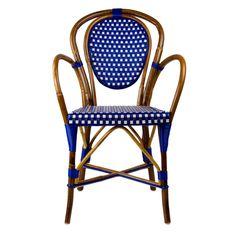 Blue & Cream Mediterranean Bistro Armchair (B)