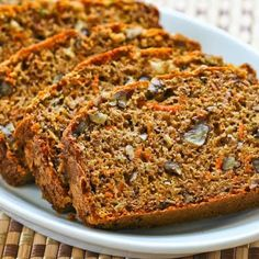 Low-Sugar and Whole Wheat Garden Harvest Cake with Zucchini, Apple, and Carrot; more nutritious than zucchini bread but just as delicious. [from KalynsKitchen.com] #LowSugar #Zucchini #FallBaking