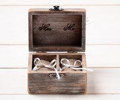Ehering Inhaber Ring Kissen Träger Box mit Shabby Chic Rose rustikal Scheune aus Holz Sackleinen und Spitze Liebe Valentinstag Geschenk