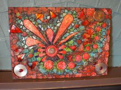 Polymer clay, beads, ballchain, jewellery, mirror, iridescent tiles, tempered glass, glass gems. Love the mixed media!