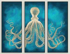 Octopus Art. Great Triptych: http://www.completely-coastal.com/2013/03/octopus-designs-home-decor.html