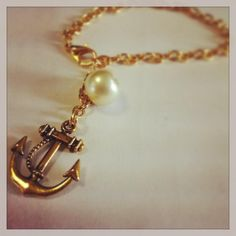 bransoletka złota kotwica łańcuch perły handmade