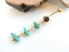 Natural Turquoise Belly Ring/ Long Sexy Dangle Belly Button Jewelry  by SeductiveBodyWorks, $13.00