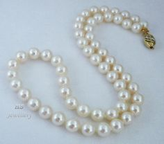 "HS #Japanese #Akoya Cultured #Pearl 8mm #14K w/ #Diamonds #Necklace 19"" #Jewelry #Mothers #Anniversary #Valentine"