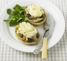 Chicken and mushroom spud pies. Jazz up a jacket potato with this creamy filling