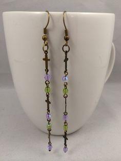 Earrings, Dangle earrings, Czech crystal and cross earrings, shoulder dusters