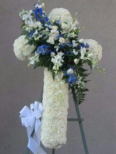 S Funeral Flower Arrangements, Funeral Flowers, Sympathy Flowers, Flower Spray, Shop Ideas, Crosses, Flower Designs, Florals, Centerpieces