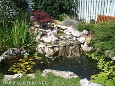 Beautiful backyard pond ideas for all budgets | Medium size inground garden pond with waterfall