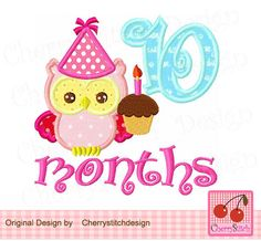 Baby 10 months for girls,Baby owl,New Baby owl with 10 months digital applique…