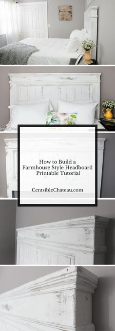 Make your own farmhouse style headboard with printable instructions! This farmhouse headboard DIY will help you build the the perfect focal piece for a gorgeous farmhouse style bedroom. If you love Fixer Upper, Shabby Chic Style, Vintage or Farmhouse Decor this headboard is perfect. It can be built for around $100 with our easy printable instructions.