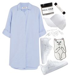 """baseball game"" by supersquirrelgirlq ❤ liked on Polyvore featuring M.i.h Jeans, NIKE, Fig+Yarrow, philosophy and whitesneakers"