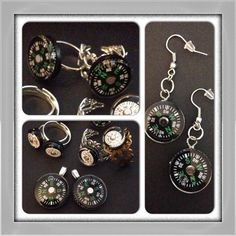 Real compasses! Earrings and rings!
