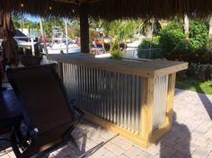 The Thomas - 3u0027 x 8u0027 X 3u0027 two level Rustic Corrugated Metal and Treated Wood U shaped outdoor patio bar & 45 Best Rustic outdoor patio bars images in 2019 | Outdoor patio bar ...