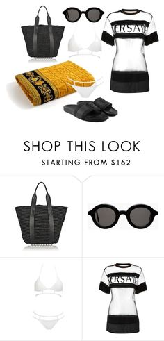 """old style beach"" by esposito-alicya on Polyvore featuring Alexander Wang, Mykita, Versace, MOEVA and strawbags"
