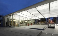 Lightframe fabric canopy with integrated LED lighting entrance feature
