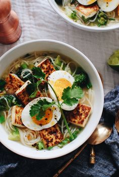 Somen Noodle and Tofu Soup / Bev Cooks Asian Recipes, New Recipes, Vegetarian Recipes, Cooking Recipes, Healthy Recipes, Ethnic Recipes, Japanese Recipes, Japanese Food, Somen Noodle Recipe