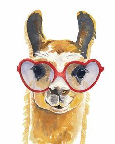 Llama Watercolour PRINT - 8x10 Art Print, Heart Shaped Glasses, Llama Illustration