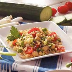 Mediterranean Bulgur Salad Recipe - I made this tonight (my first time making bulgur) and it was pretty good, would have been better if I hadn't forgot to buy pine nuts.